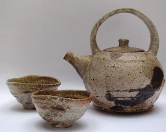 Wood fired Shino glazed Tea pot and 2 cup Set