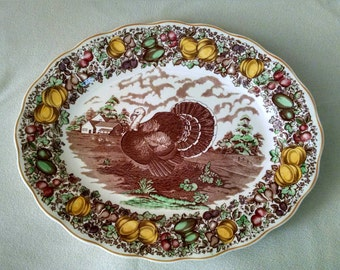 "Barker Brothers by Weil Ceramics Vintage English Turkey Platter 20"" x 16"""