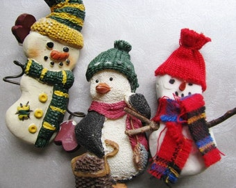 3 Christmas Vintage Snowmen Brooches - 3 Fun Colorful Holiday Brooches