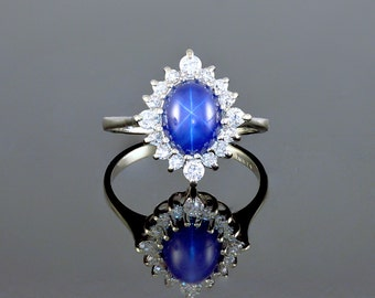 Blue, Star Sapphire, Six Ray Star, Halo, Diamonds, 14k Gold, White Gold, Prong Set, Ring