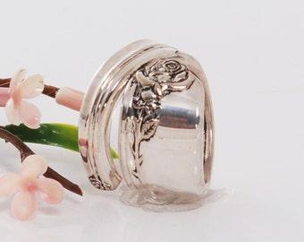 Vintage Spoon Ring - Tupperware Rose Spoon Ring - Spoon Jewelry - Rose Spoon Ring - Spoon Ring - Silverware Spoon Jewelry (mcf 5-R159)