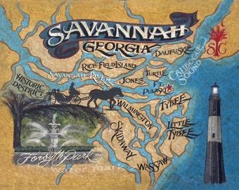 Savannah GA  Map  Print