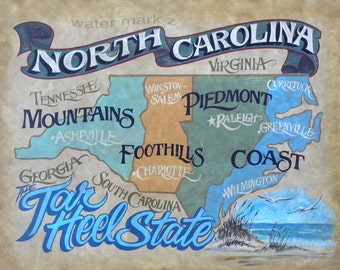North Carolina retro Map  Print