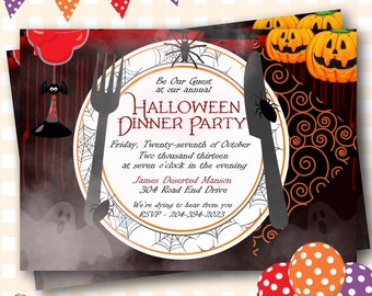 Halloween Dinner Invitations, Halloween Dinner Party, Dinner Party Invitations, Dinner Party Invites, Halloween Dinner Invitations - H13
