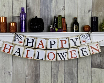 Halloween Banner, Halloween Decor,  Halloween Garland, Halloween Party, Happy Halloween, Halloween Sign, Halloween, Halloween Bunting