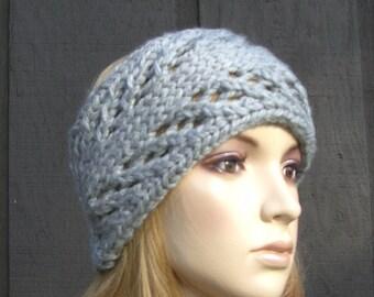 Knitted Head Wrap Headband Earwarmer Gray Grey with Button Closure