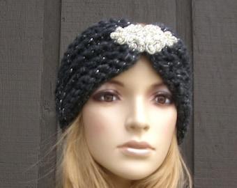 Knit Headband Head Wrap Earwarmer Charcoal Gray Grey Winter with Beaded Applique