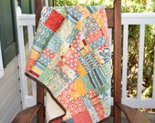 Modern Baby Quilt-   yellow quilt, baby shower gift, baby girl crib quilt, ready to ship quilt, brown quilt, one of a quilt