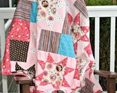 Owl Quilt- Ready to ship Quilt, Pink quilt, Modern Girl Quilt, Couch Quilt, Wall hanging Quilt, Pink Owl Quilt, One of a kind quilt