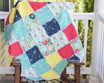 Crib Rag Quilt- Ready to ship Rag Quilt, firefly rag quilt, Flower rag quilt, mint green rag quilt, coral rag quilt, yellow rag quilt,