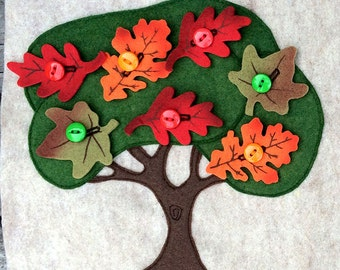 Autumn Tree Leaves Buttoning