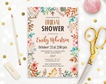 Fall Bridal Shower Autumn Bridal Shower Invitation Printable Floral Bridal Invite Rustic Fall Theme Wedding Shower Editable INSTANT DOWNLOAD