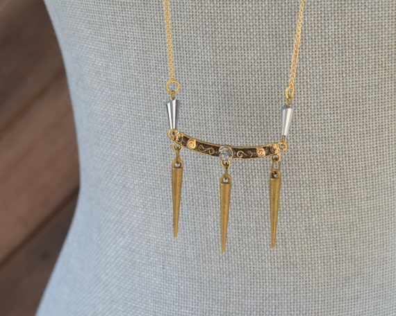Long Gold Spike Necklace - Layered Gold Necklace - Long Delicate Gold Necklace - Long Chain Necklace - Layer Necklace - Layering Jewelry