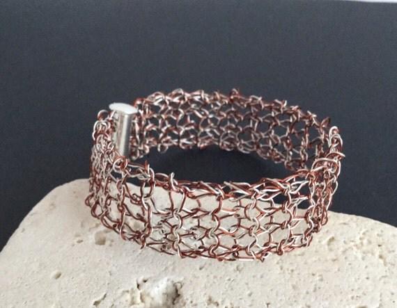 Silver Bracelet - Silver and Copper Bracelet - Copper Cuff Bracelet - Wire Knit Jewelry - Silver Wire Cuff - Mesh Bracelet - Teacher Gift