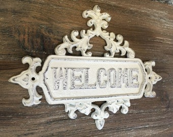 Cast Iron Welcome Plaque, Welcome Sign, Cast Iron Welcome Sign, French Country Wall Sign, Shabby Chic Welcome Sign, Distressed Sign