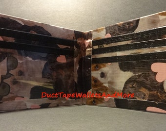 Handmade Duct tape wallet With puppies and Hearts