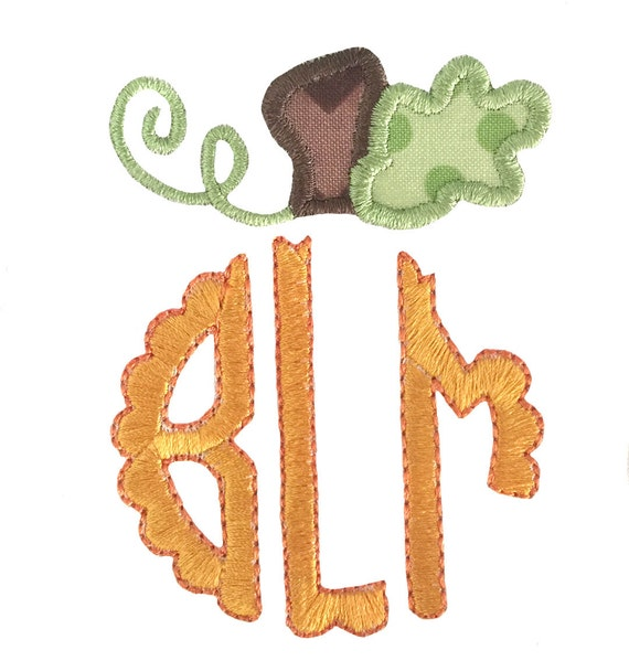 Items similar to pumpkin topper monogram frame embroidery