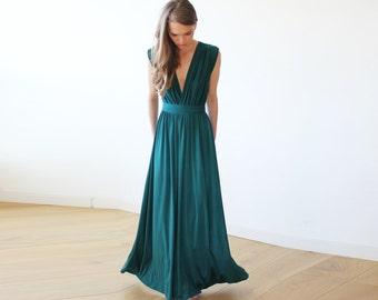 Emerald green maxi short sleeve dress, Formal green maxi gown 1003