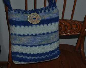 Shades of Blue Wool Knit Felted Purse