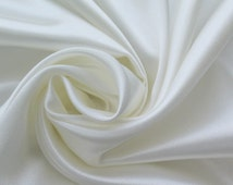 Charmeuse Stretch Solid Ivory 60 Inch Fabric by the Yard, 1 Yard