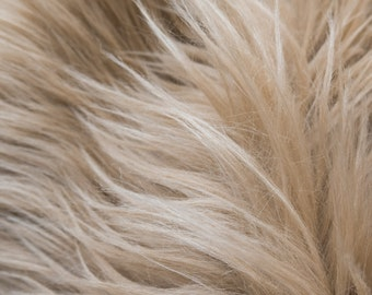 ON SALE!!! Pre-Sale MoHair 60 Inch Faux Fur Sand Fabric by the Yard, 1 yard
