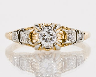 Antique Engagement Ring - Antique 1920's 18k & 14k Two-Tone Engraved Diamond Engagement Ring