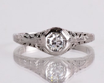 Antique Engagement Ring - Antique Arts and Crafts Era 18K White Gold Diamond Engagement Ring