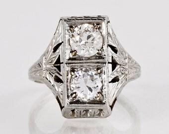 Antique Engagement Ring - Antique Art Deco 1920's 18K White Gold Diamond Ring