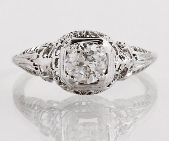 Antique Engagement Ring - Antique Edwardian 18k White Gold Diamond Engagement Ring