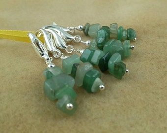 Light Adventurine Nugget Stitch Marker Set for Knit or Crochet - Lobster Clasp