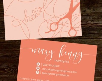 Modern Custom Hair Stylist Business Cards - PROFESSIONALLY printed!