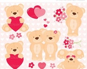 ON SALE - Teddy Loves (Pink) / Valentines Day Clip Art / Digital Clipart - Instant Download