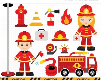50% OFF SALE Clipart - Fire and Rescue Crew / Boy and Girl Firefighters / Fire Engine / Fire Truck - Digital Clip Art (Instant Download)