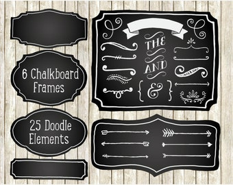 Frames - Chalkboard Elements / Hand Drawn Clipart / Chalkboard Frame Clipart - Instant Download