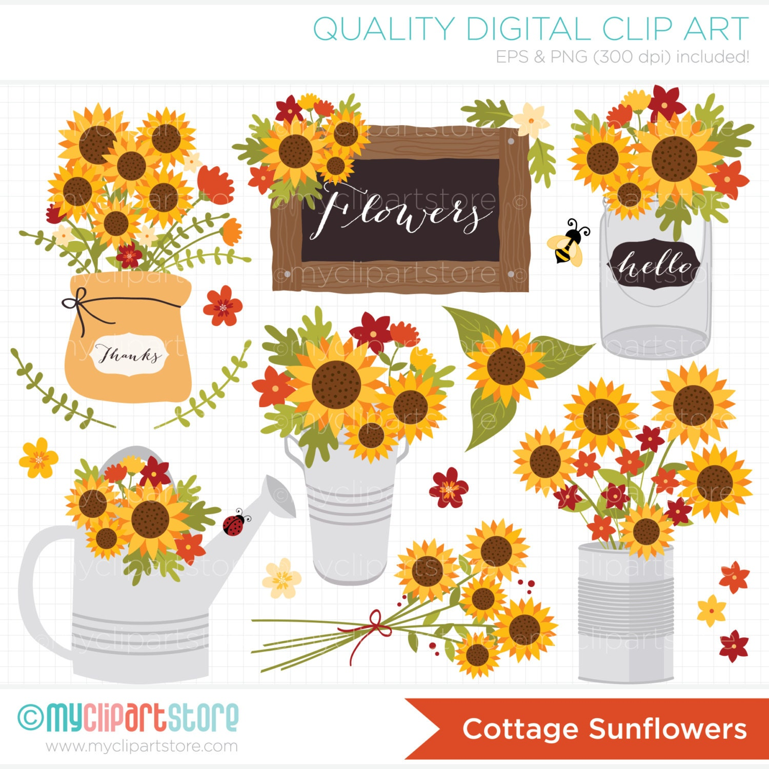 Clipart - Cottage Sunflowers / Fall / Autumn ...