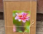 Stocking Stuffer, Dahlia flower card pack, kraft paper, mini cards, photographic, handmade