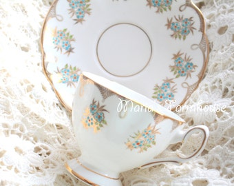 Vintage English Bone China Tea Cup and Saucer Duo, Gifts for Her, Tea Party - c. 1927 - 1961