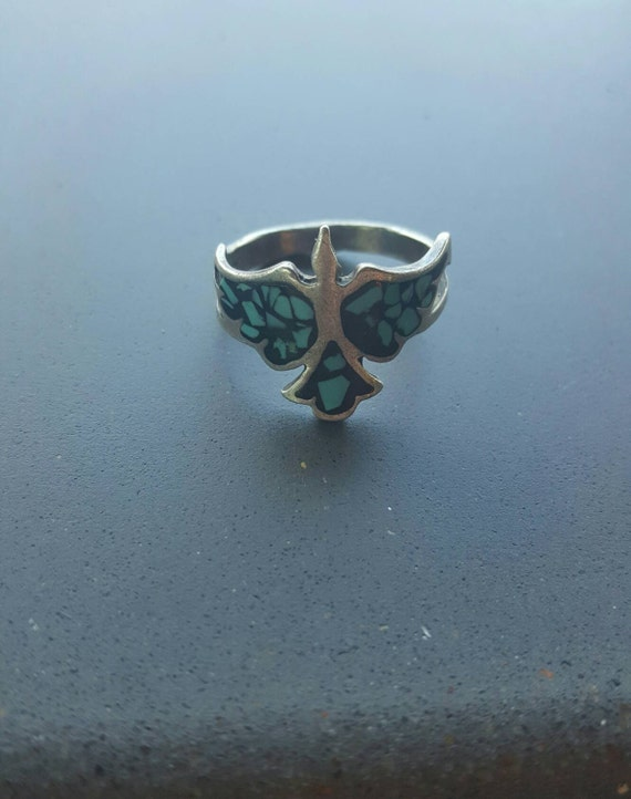 Vintage Silver Native American Navajo Style Bird 2 prong Band Turquoise Stone Ring