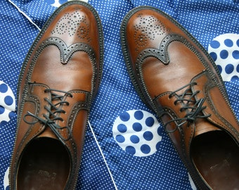 Brogue Wing Tipped Shoes Vintage Wingtip Shoes 10c Size 10 C Brogues Brown Wingtips