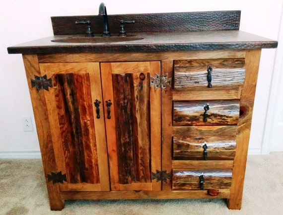 "Rustic Bathroom Vanity - Copper top - 42"" - Bathroom Cabinet - Bathroom Vanity - sink - Rustic Vanities -  Log Furniture - Rustic Bathroom"