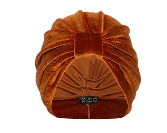 Ava Velvet Turban in Orange