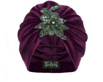 Purple Velvet Turban with Iridescent Bead Floral Applique