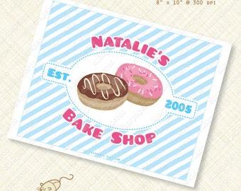 Donut Party Printable Custom Sign Sweet doughnut personalized bakery breakfast bake shop shoppe pink blue pajamas treat digital pdf stripes