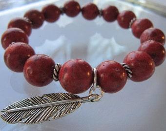 Sponge Coral Bracelet - For Her, Stackable Bracelets, Charm Bracelet, Gift For Her, Gift For Friend, Birthday, Anniversary,