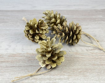 Natural Christmas Tree Ornaments Pine Cone Xmas Decoration Rustic  Woodland Eco Woodland Wedding Winter Decor Gold Pine Cone, set of 4