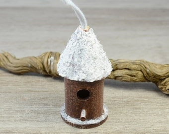 Snow Birdhouse Christmas Tree Wooden Ornaments Xmas Decoration Rustic Woodland Eco Wedding Winter Decor Scandinavian, set of 2, cottage chic