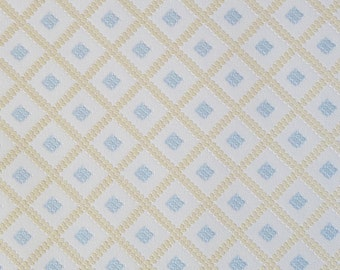 Vintage WALL PAPER by the YARD, Vinyl Wallpaper from the 80s. Diamonds in Light Blue and Pale Yellow on a Cream Background.