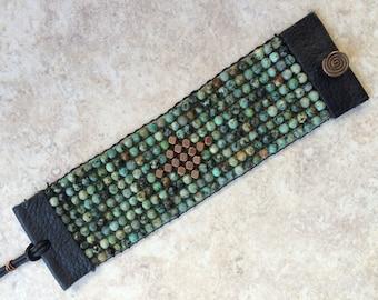 Beaded Boho Cuff, Loomed Cuff, African Turquoise Cuff, Wide Bracelet
