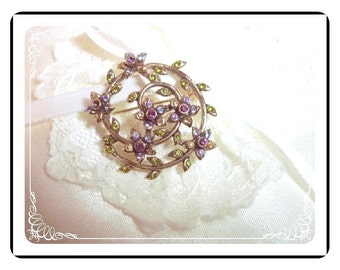 Vintage Monet Floral Rhinestone Brooch  Pin-1193a-012312000