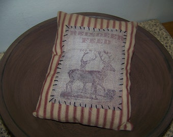 Primitive Reindeer Logo Homespun Ticking Pillow Tuck Winter Decor